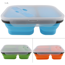 1350ML Silicone Lunch Box Portable Bowl Colorful Folding Food Container Lunchbox with Tableware Eco-Friendly