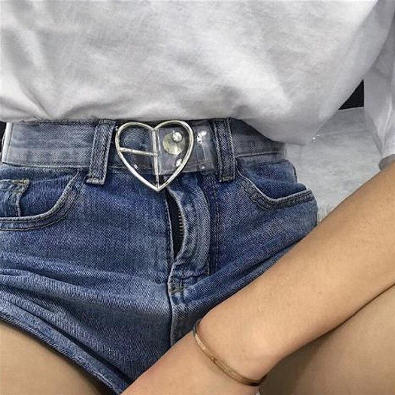 2018 Neue Bügel Der Frauen Casual Transparent Pvc Frauen Strap Weiß Farbe Herz Gürtel Top Qualität Mode Jeans Gürtel Rabatte Verkauf