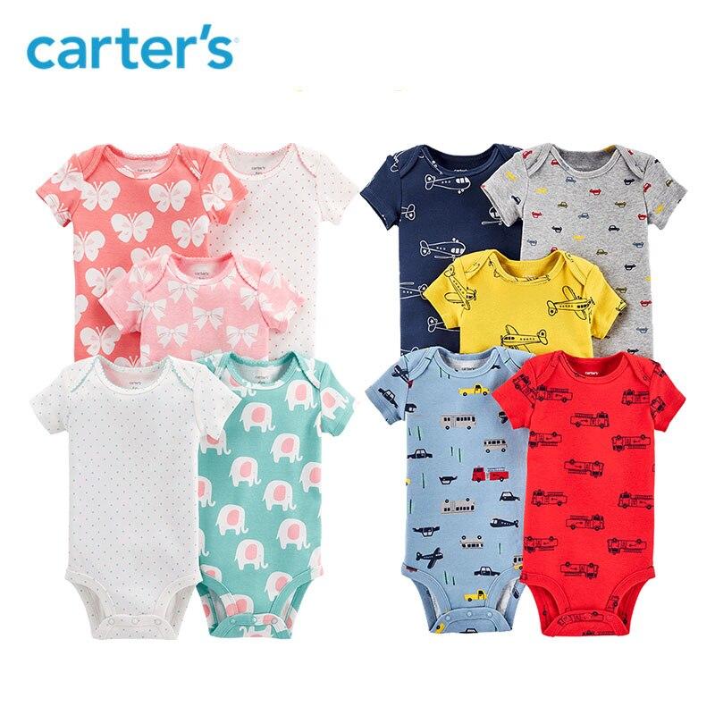 5 piezas corazón Flor de huellas de algodón de manga corta trajes conjuntos de ropa de bebé de Carter niña verano 126H577/ 126H661