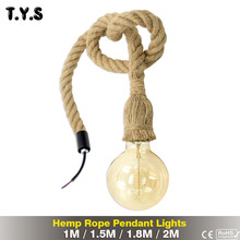 Retro Vintage Hemp Rope Pendant Light Lamp Loft Creative Personality Hanging Fixture Industrial Lamp Edison Bulb Style Lighting american retro loft style industrial lighting fixtures vintage pendant lamp with 6 edison bulb lights lamparas colgantes