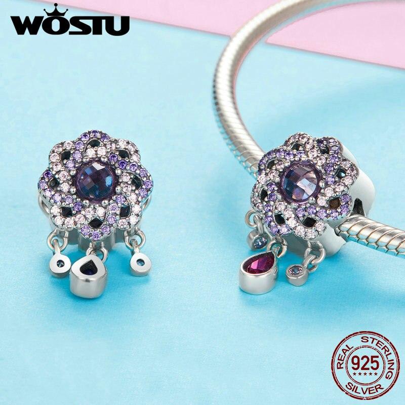 c3fbd5fe6680 WOSTU encantos de Plata de Ley 925 CZ púrpura entrelazados cuentas flor para  las mujeres accesorios de joyería de moda mujer Regalos BKC1075