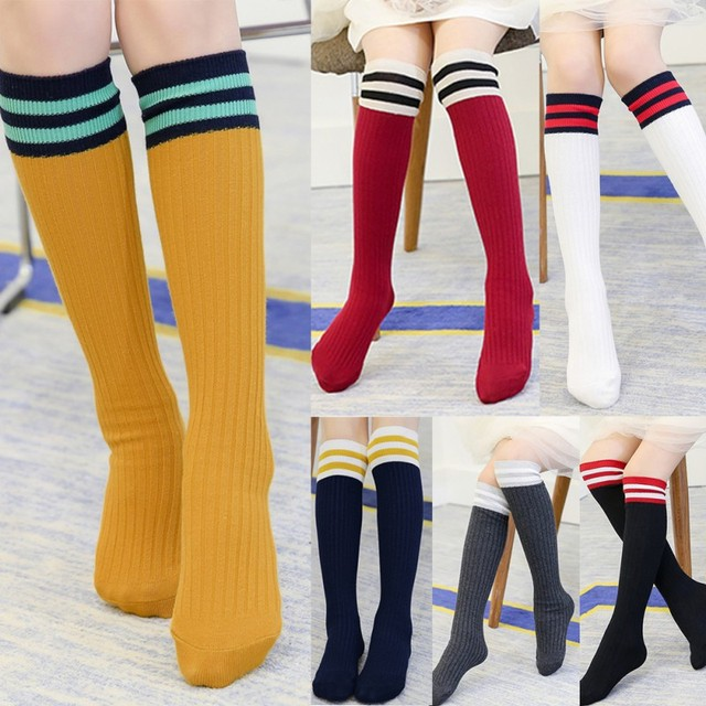 2c5e2c0ccba Baby Girls New Sports Clothing Long Socks Kids Striped Patchwork Active  Football Soccer Baseball Over Knee High Sock Hockey G