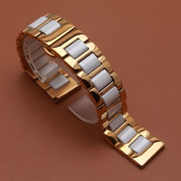 Watchband for fashion quartz Wristwatch Ladys dress Watch Accessories 14mm 16mm 18mm 20mm White Ceramic and Gold stainless steel