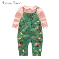 Humor Bear Christmas Newborn Baby Girl Clothes Infant Jumpsuit Baby Suit 2018 Girls Flower Design T