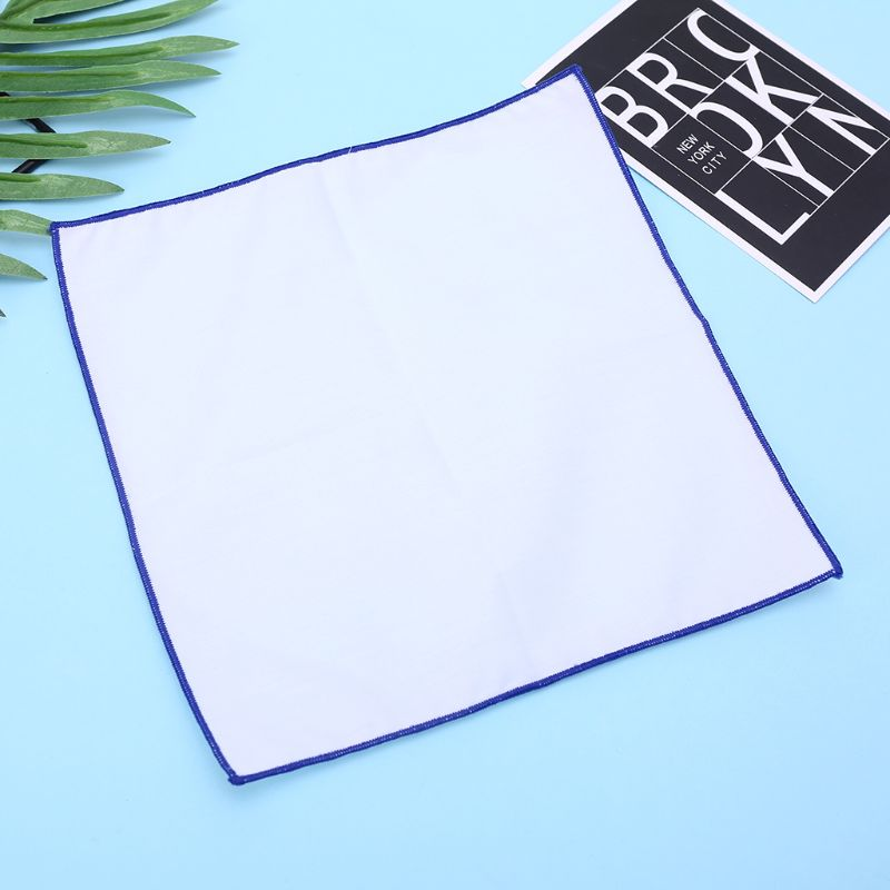 Men Cotton Pocket Square White Handkerchief With Colored Border Men Chest Towel Handkerchief
