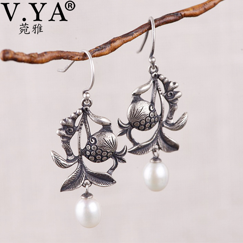 V.YA S925 Sterling Silver Vintage Earring New Design Hollow Dangle Drop Earrings Charm Jewelry For Women Earring