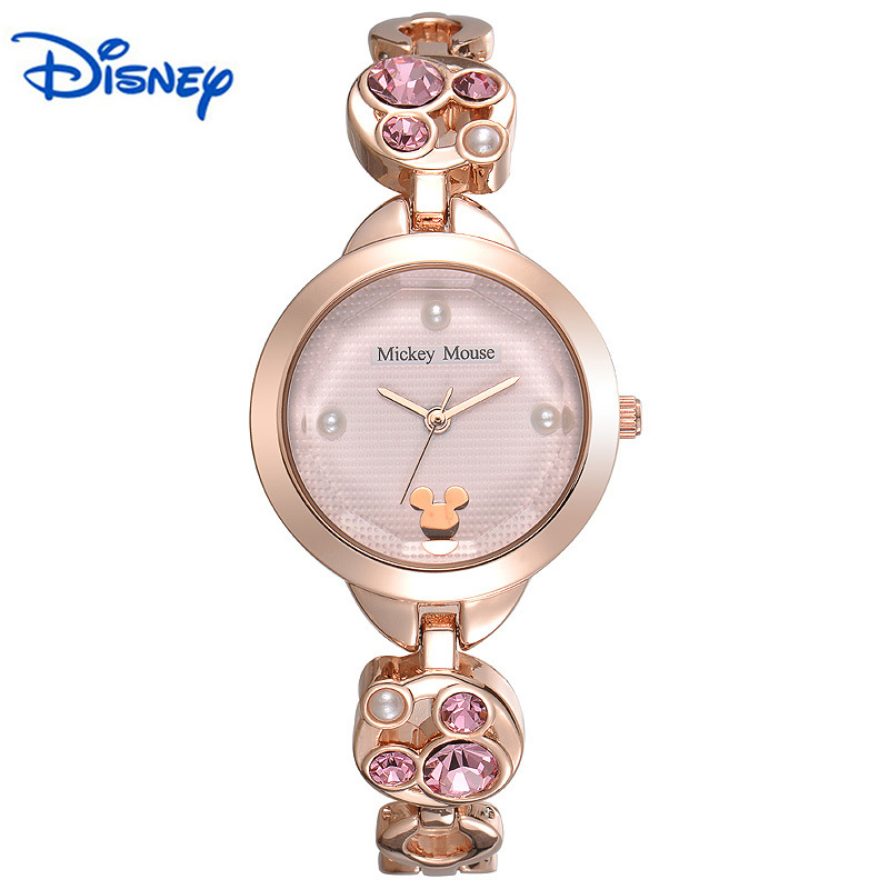 100% Original Disney New Luxury Fashion Brand Ladies Quartz Watch with Alloy Plating Steel Bracelet WaterproofQuartz Watch Wrist