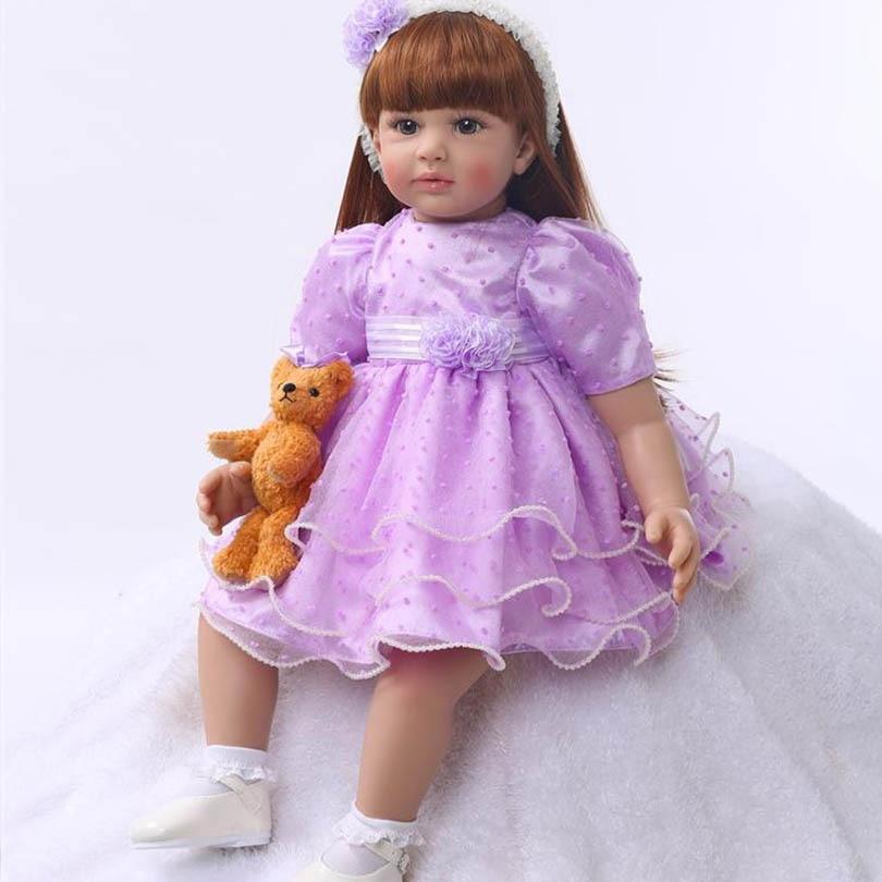 60cm Baby Girl Doll Silicone Reborn Baby Lifelike Elegant Princess Smile Doll Long Hair Birthday Gift Girl Brinquedos