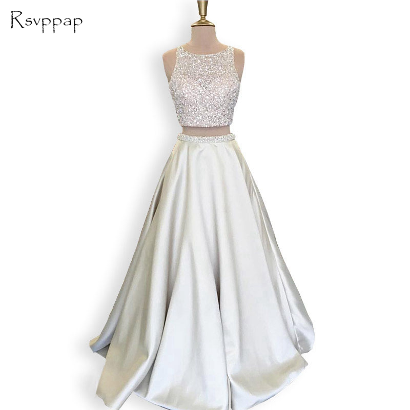 Stunning Long   Prom     Dress   2018 Scoop Neckline Beaded Floor Length African Silver Backless Two Piece   Prom     Dresses