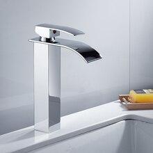 Современные высокой раковиной в ванной кран латунь широкий ниспадающий одной ручкой отверстие горячей и холодной смеситель для мойки Нажмите бортике torneira