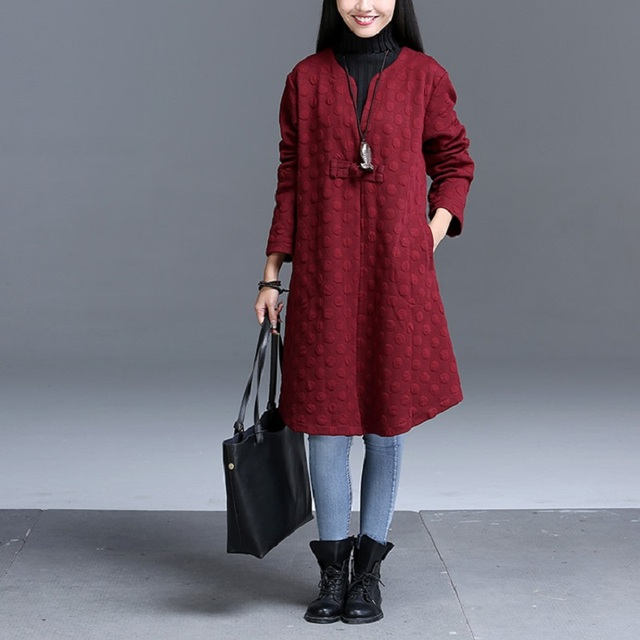 2016 autumn winter new large sizes loose long-sleeved literary fashion women trench coat ethnic style brief coat ladies CT147