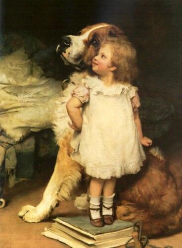 100% fait à la main superbe belle peinture à l'huile petite fille avec son chien de compagnie-qui est plus grand 24