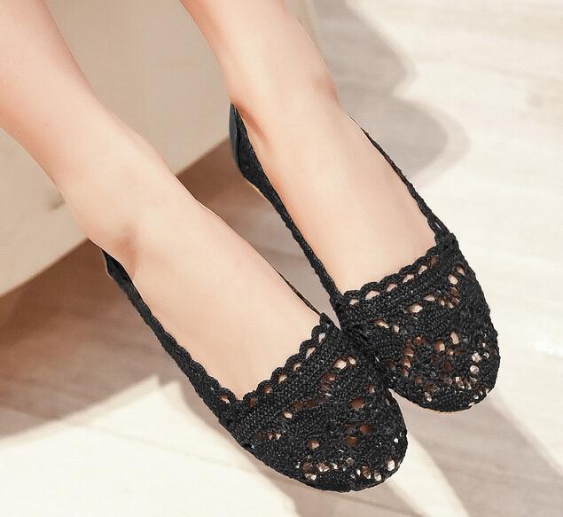 Enmayessize 34 39 Hot Sale Cut Outs Women Flats Black Crochet Ballet