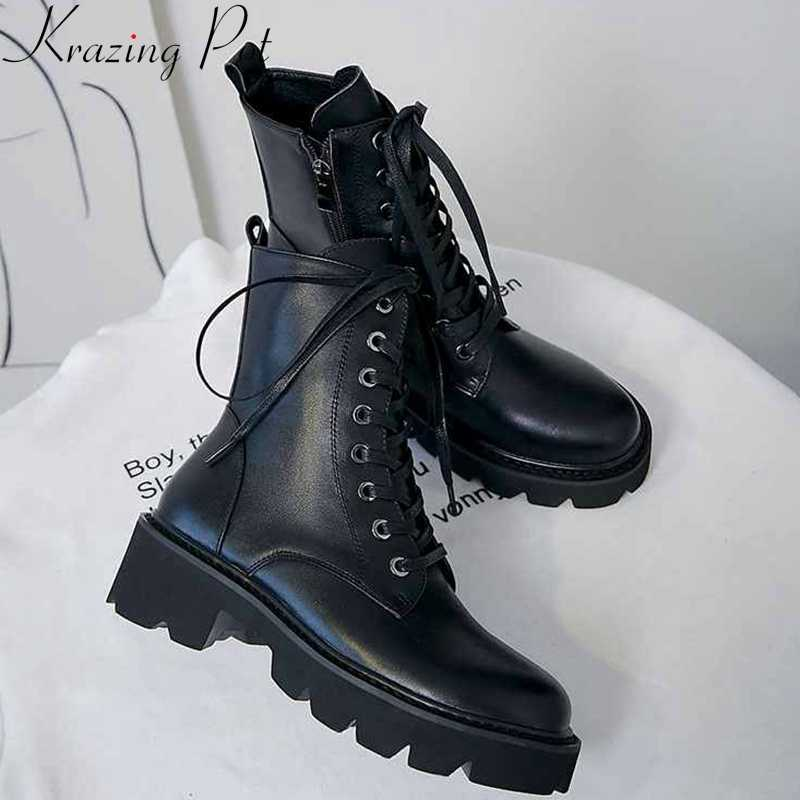 krazing pot superstar genuine leather thick med heel motorcycle boots platform round toe metal rivets lace up ankle boots l36