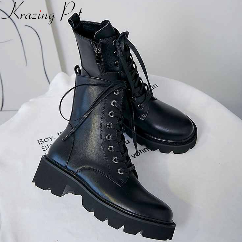 krazing pot superstar genuine leather thick med heel motorcycle boots platform round toe metal rivets lace