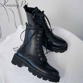 krazing pot superstar genuine leather thick med heel motorcycle boots platform round toe metal rivets lace up ankle boots l36 2018 new winter fashion pointed toe lace up genuine leather print flower zip rivets women ankle boots thick heel chelsea boots l