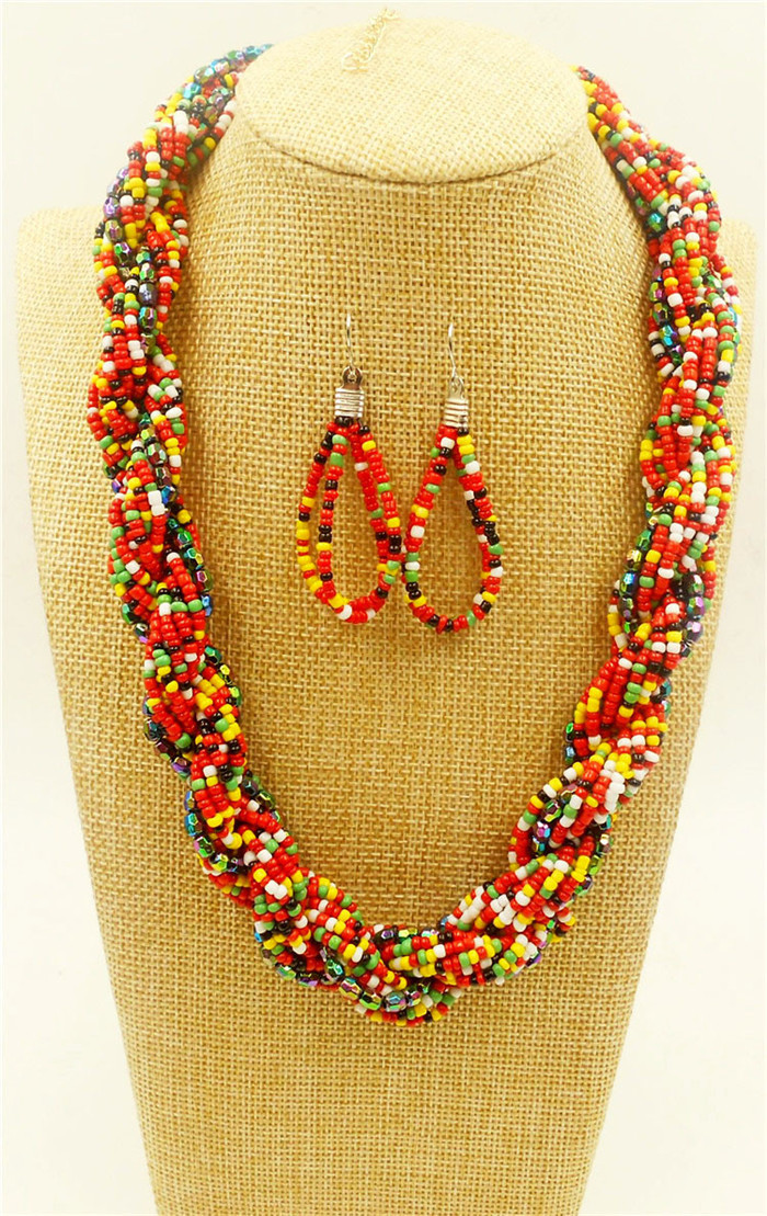 African Beads Jewelry Collar Statement multi layer Necklace * bead body ornament seed choker necklace