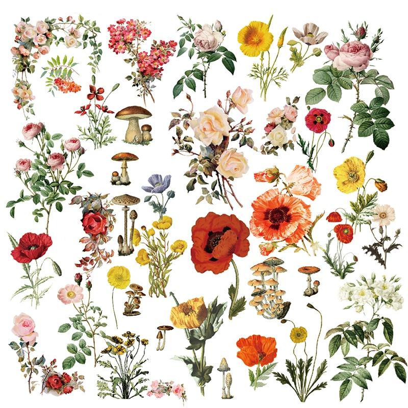 ypp craft 40pcs flowers plant illustration vellum paper stickers scrapbooking  card making