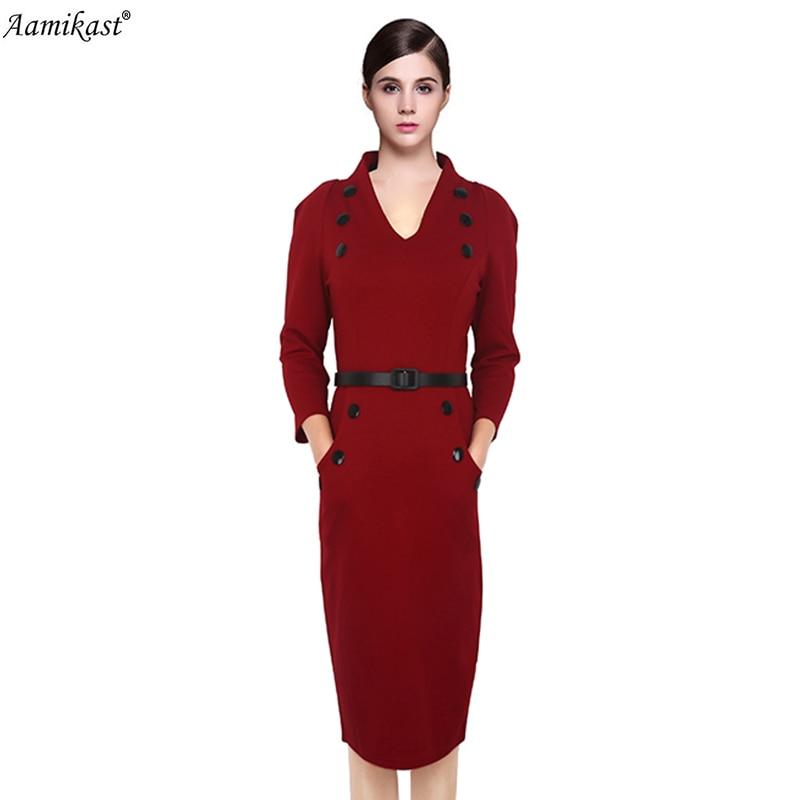 Női ruha 2018 őszi téli új divat Elegáns v-nyakú háromnegyed - Női ruházat