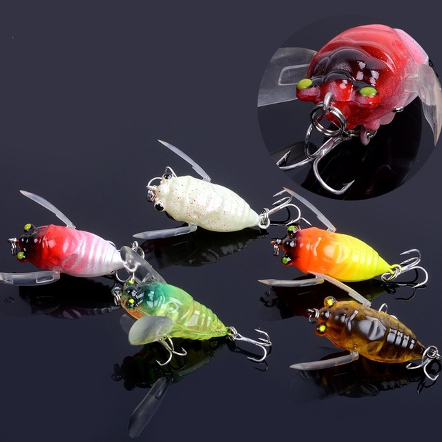 New Top grade 3Pcs Cicada Artificial lures Bait For Fishing Insects Fish Pesca Carp Fishing tackle Wobbler 5CM 6g