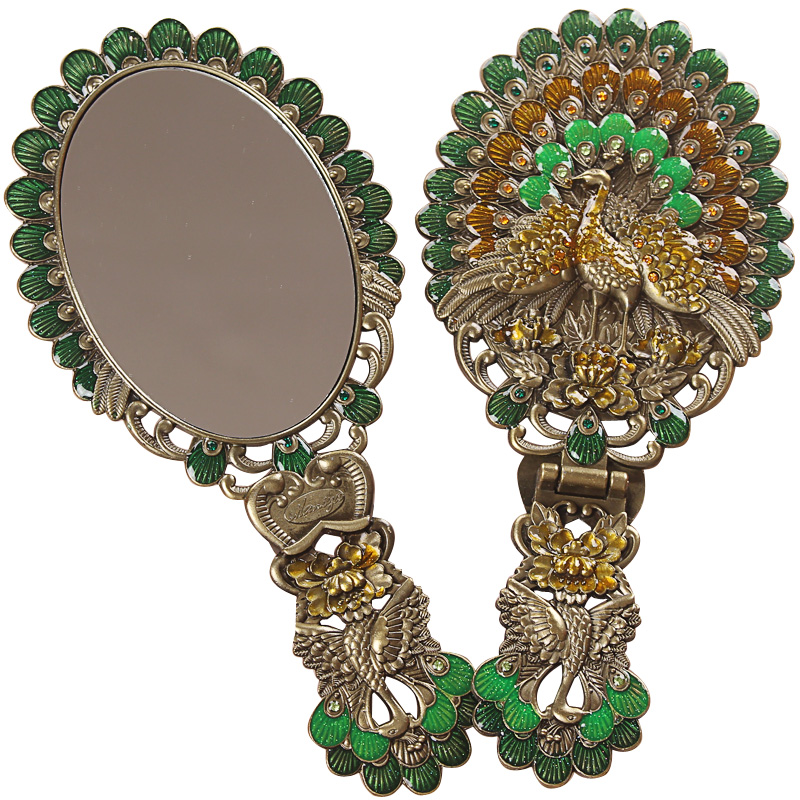 Makeup Mirror Desktop Princess Portable Handle Folding Mirror Handheld Vintage Peacock Imitation Copper Mirror Without Lamp