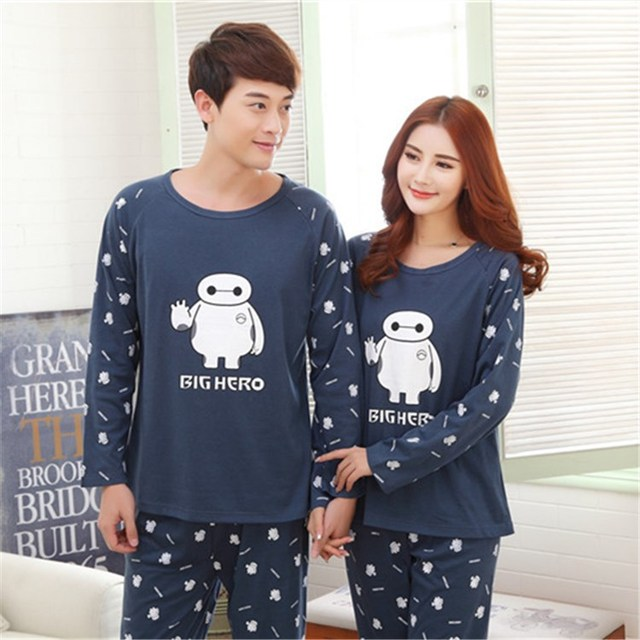 04666377495d Autumn Winter Flannel Character Big Hero Cute Matching Pajamas for Couples  Lovely Sweet Onesie Nightwear Home Clothes sleepwear