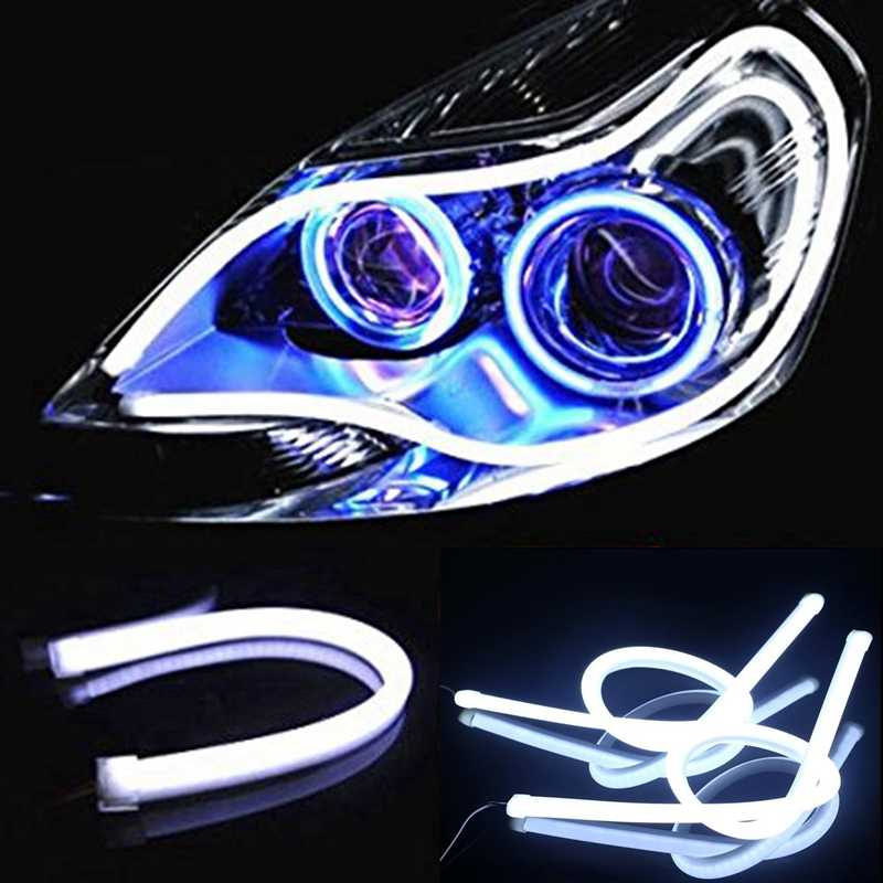 2x30cm Car LED DRL Light Strip Daytime Running Light Angel Eye Flexible Fog White Light Parking Lamp not Turn Signal Light