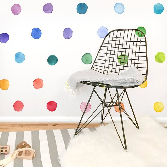 Small Rainbow Watercolor Dots Colorful Wall Decal PVC Wall Stickers Baby Nursery Decor Kids Room Wall house decoration Mural