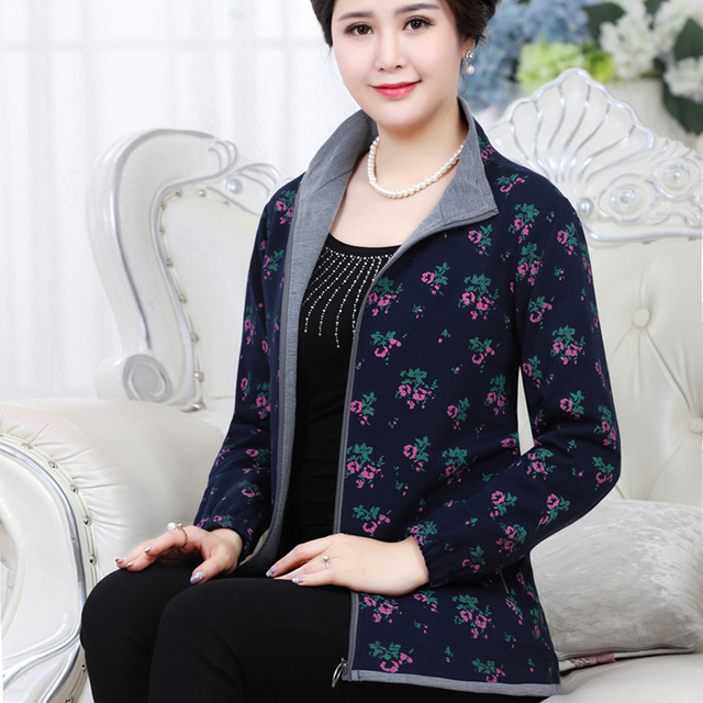 Casual Jackets Stand - Collar Middle-aged Mother Clothes Spring And Autumn Jacket Plus Size Print Coat Zipper Fashion J340