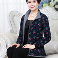 Jaquetas casuais Stand-Gola da Jaqueta Mãe de Meia Primavera E No Outono Roupas Plus Size Casaco de Impressão Zipper Moda J340