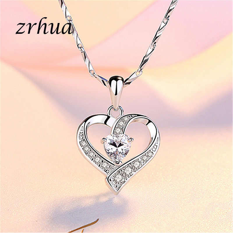 ZRHUA 925 Sterling Silver Necklace Chain Zircon Heart Pendants Necklaces For Women kolye Choker High Quality Wedding Jewelry