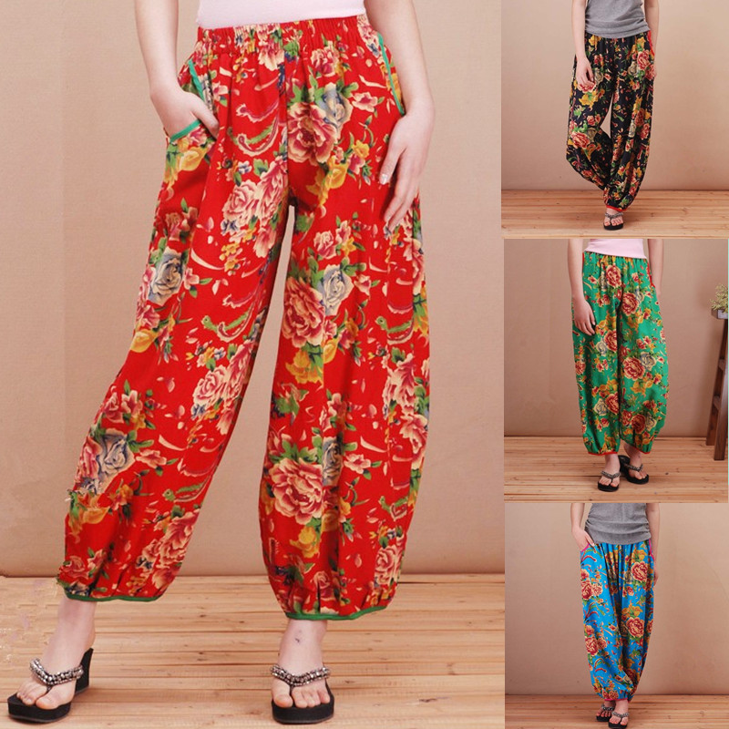 Large size cotton national wind flower pants long pants loose straight jeans pantyhose mother font b