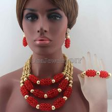 New Shinny Red Nigerian Wedding African Beads Jewelry Set 3 Steps Bold Statement Necklace Set 18K Free Shipping HD8655