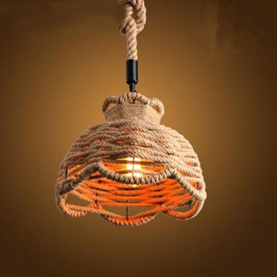 E26 / E27 Base Hemp Rope Industrial Retro Vintage Pendant Light Fixtures MS - 16 ...