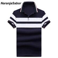 NaranjaSabor New Sọc của Nam Giới Polos Cotton Mùa Hè Ngắn Tay Áo Giản Dị Nam Polos Mens Bông Ngắn Tay Áo Người Đàn Ông Trai Polo 5XL