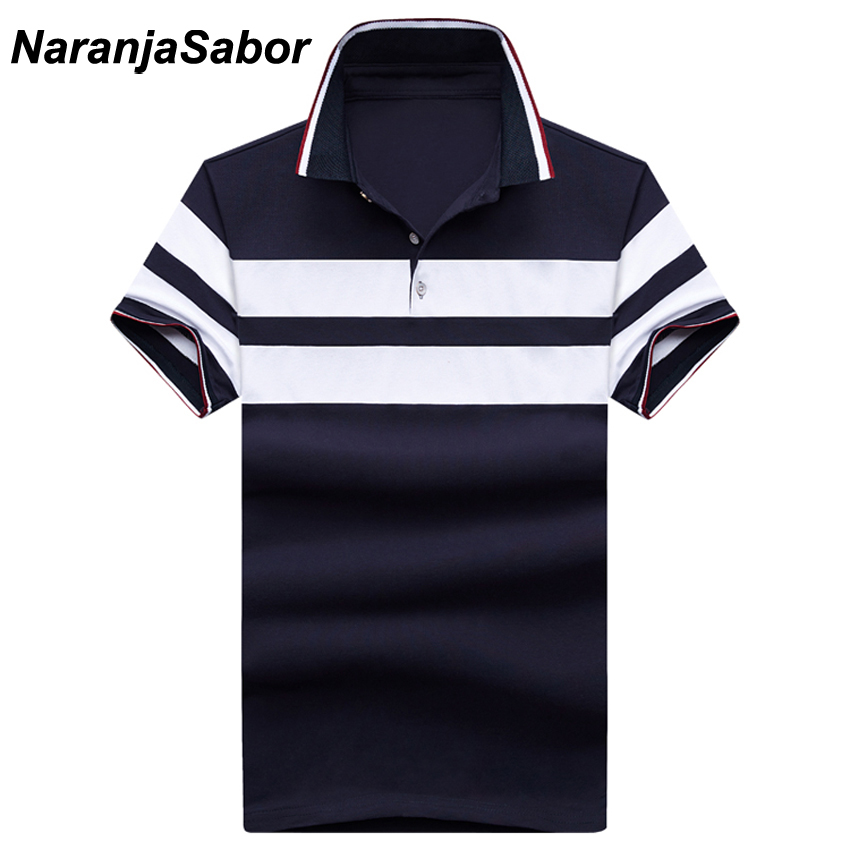 NaranjaSabor New Striped Men's Polos Summer Cotton Short Sleeve Casual Male Polos Mens Cotton Short Sleeve Men Boys Polo 5XL
