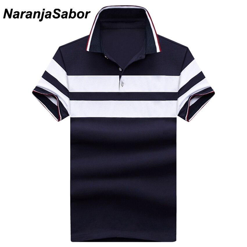 NaranjaSabor New Striped Men's Polos Summer Cotton Short Sleeve Casual Male Polos Mens Cotton Short Sleeve Men Boys Polo 5XL