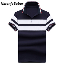 ملابس بولو رجالي صيفية جديدة مخططة من NaranjaSabor بأكمام قصيرة كاجوال من القطن للرجال بأكمام قصيرة بولو للرجال 5XL