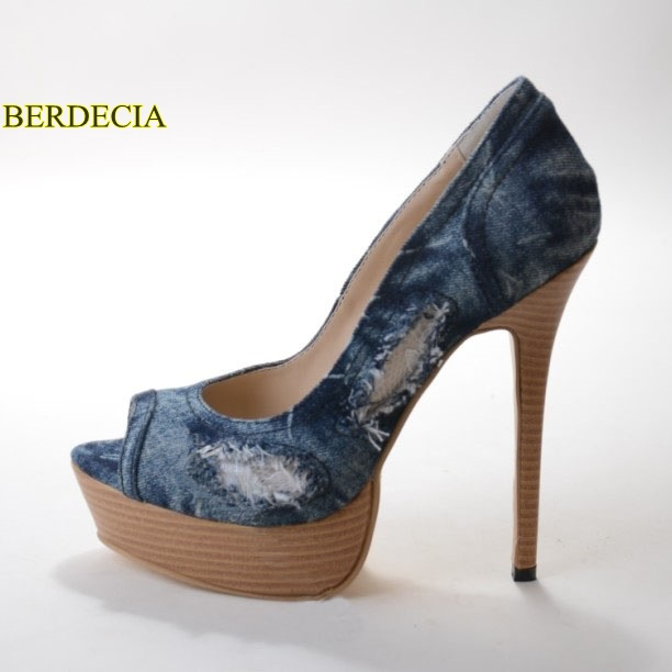 Hollow Mujer Toe Moda Azul Zapatos Out Tacones Diseño Madera Suela Único  Denim Peep Gruesos Plataforma ... c188ef12909e