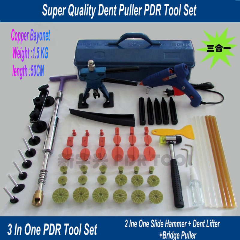 HeavyKnight  PDR Tools Kit Paintless Dent Repair Tools Set Car Dent Repair Tool Set Glue Gun Dent Puller Set Tools Bag PDR Tabs 5 second fix liquid plastic welding kit uv light repair tool glue kit