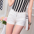 2015 New Fashion Female White Shorts Women's Jeans Summer High Waist Shorts Denim Short Casual Women Jeans Shorts Hole Plus Size