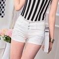 2015 Nueva Moda Femenina Blanco Shorts Vaqueros de Las Mujeres del Verano cintura Pantalones Cortos de Mezclilla Corto Mujer Jeans Shorts Agujero Ocasional Más tamaño