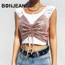 Sequin Top Mujer Spaghetti Strap Sexy Crop Top Women V Neck Backless Clubwear 2019 Summer Shirt Pink Top Femme Z045 fashionable v neck spaghetti strap fitted sleeveless crop top for women