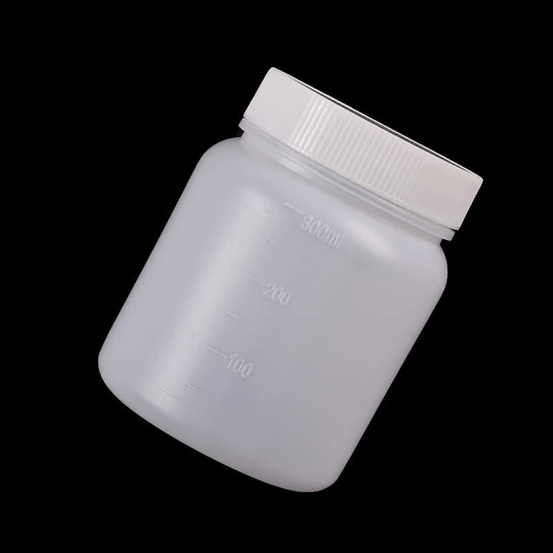 300mL White Plastic Wide Mouth Bottle  Laboratory Chemical Storage Case