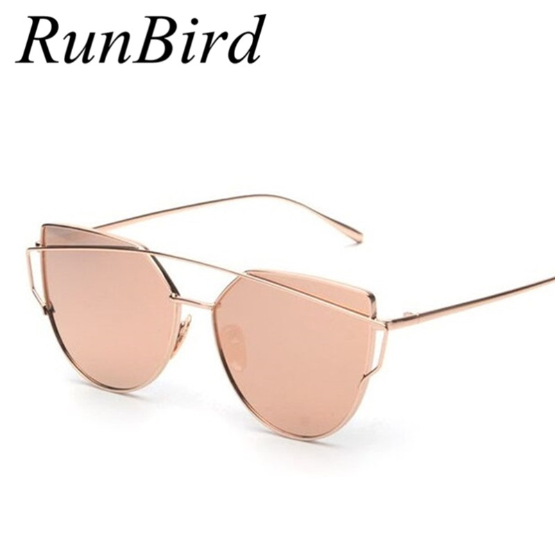 Runbird mirror flat lense women cat eye sunglasses classic brand designer twin beams rose gold frame