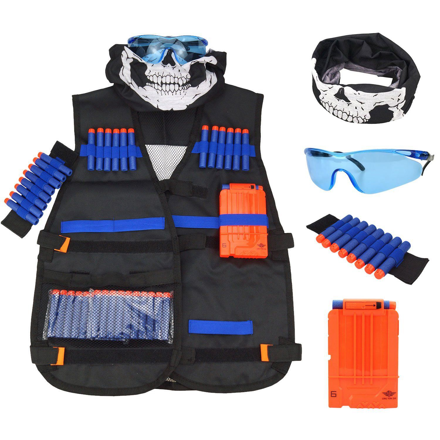 ChildrenBlack Tactical Gun Accessories  Waistcoat Ammo Holder Elite Pistol Bullets Toy Clip Darts For Nerf With Mask Goggles