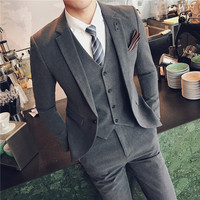Mens Suits With Pants Costume Homme Mariage Suits Mens Grey Tuxedo Slim Fit Formal Wedding Prom Suits Terno Masculino 6XL Plus