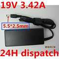 Laptop AC Adapter for Lenovo/Asus/Toshiba/BenQ 19V 3.42A 5.5 X 2.5 MM AC Adapter Power Supply Charger free shipping