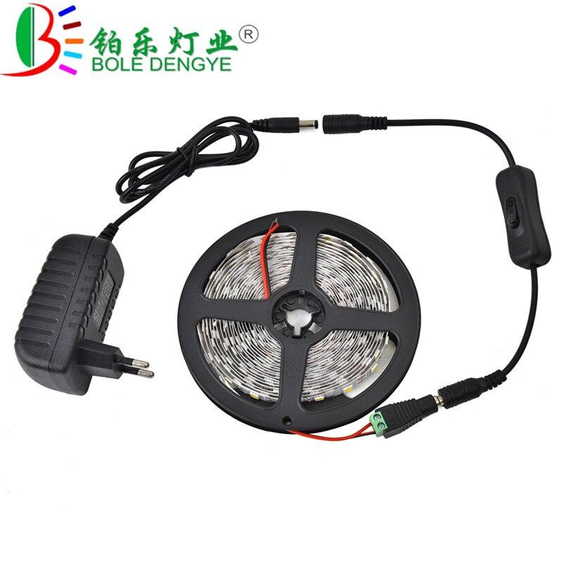 BOLEDENGYE 5M 16.4Ft 300led 5050 LED Strip Light White Warm White Flexible Tape Ribbon+Switch For Living Room Bedroom Decoration