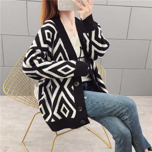2019 Argyle hırka kadınlar gevşek örgü ceket ceket kadın hırka kazak sonbahar kış Jersey